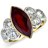 Marquise Ruby and Diamond Rub Set Treffoil Ring