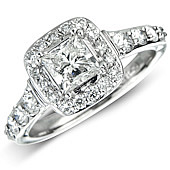 Princess Cut Surrounded by Pave Set Diamonds