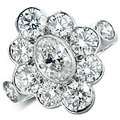 'The Venus' - Oval and Brilliant Cut Diamonds in a Rub Set Mount    (3.33cts)