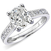Cushion Cut Solitaire with Pave Set Shoulders