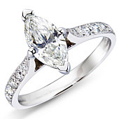 Marquise Solitaire with Pave Set Shoulders
