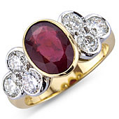 Oval Ruby and Diamond Rub Set Treffoil Ring