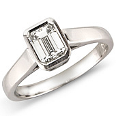 Emerald Cut Solitaire in Rub Style Mount