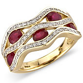 Ruby and Diamond Set Wave Ring