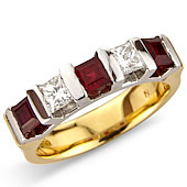 Princess Cut Ruby and Diamond 5-stone Ring