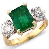 Rectangular Emerald and Diamond Claw Set 3-stone Ring