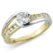 Brilliant Cut Solitaire on 2-tone Diamond Set Shank