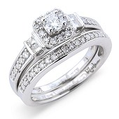 Vintage Style Fancy Set Solitaire Ring with Matching Pave Set Band