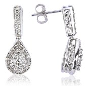White Gold and Diamond Drop Earrings (Diamond Weight 0.75ct)
