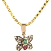 Ruby, Emerald and Diamond Butterfly Pendant in Gold Mount