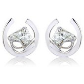 White Gold and Horse Shaped Diamond Earrings