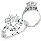 Brilliant Cut Solitaire with Pave Set Shoulders