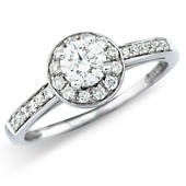 Diamond Cluster Style Solitaire with Diamond Set Shoulders.  (0.80ct)
