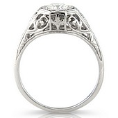 Vintage Style Hexagonal Set Diamond Solitaire Ring