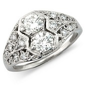 Deco Style Hexagonal Set Diamond 2-stone Ring with Decorative Diamond Shoulders (0.90ct)
