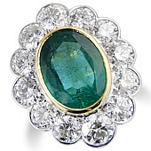 Oval Emerald and Diamond Pave Set Cluster Ring