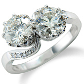 Diamond 'Rub' Set 2-stone Ring  with Pave  Shoulders
