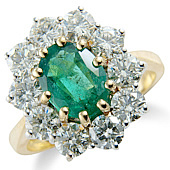 Oval Emerald and Diamond Claw Set Cluster Ring